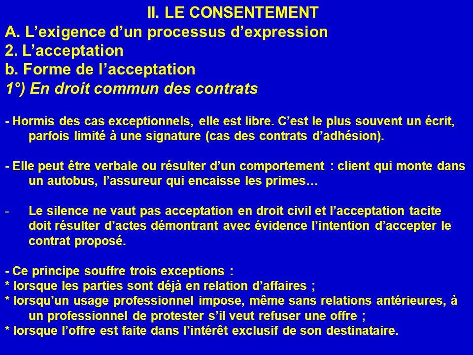II. LE CONSENTEMENT A. Lexigence dun processus dexpression 2. Lacceptation b. Forme de lacceptation 1°) En droit commun des contrats - Hormis des cas