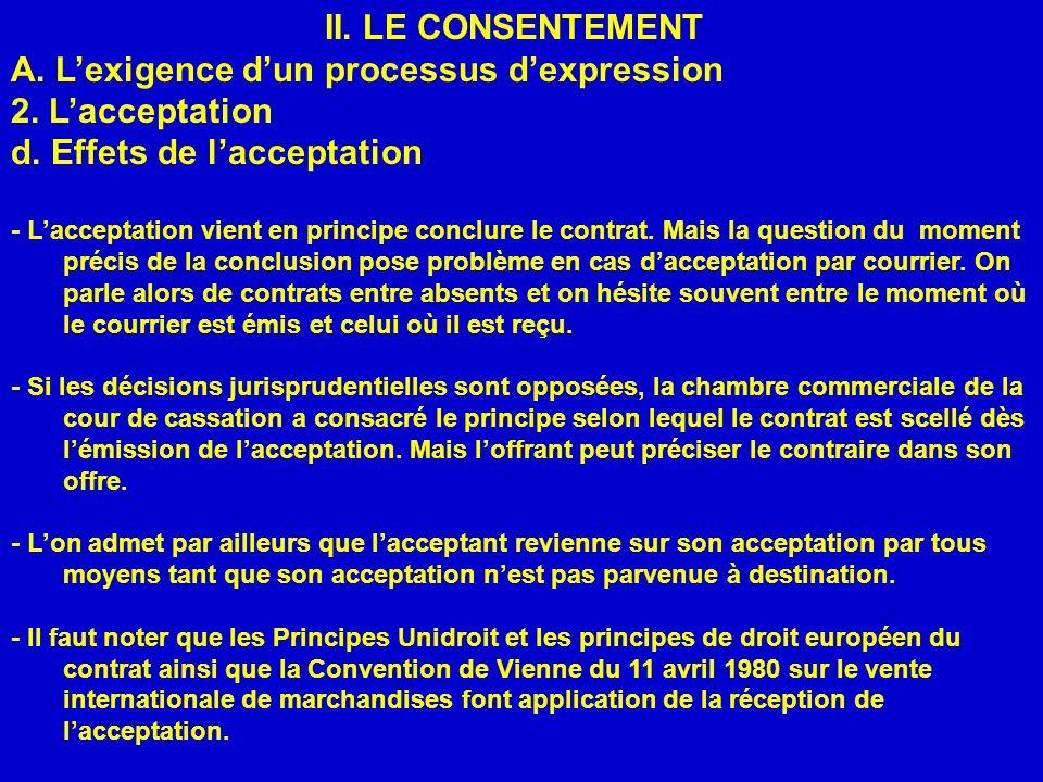 II. LE CONSENTEMENT A. Lexigence dun processus dexpression 2. Lacceptation d. Effets de lacceptation - Lacceptation vient en principe conclure le cont
