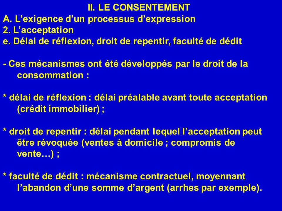 II. LE CONSENTEMENT A. Lexigence dun processus dexpression 2. Lacceptation e. Délai de réflexion, droit de repentir, faculté de dédit - Ces mécanismes
