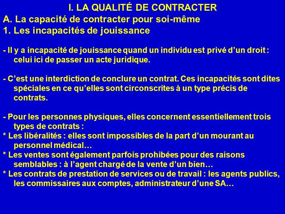 I.LA QUALITÉ DE CONTRACTER A.