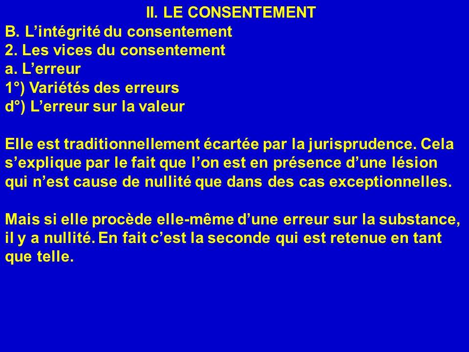 II. LE CONSENTEMENT B. Lintégrité du consentement 2. Les vices du consentement a. Lerreur 1°) Variétés des erreurs d°) Lerreur sur la valeur Elle est