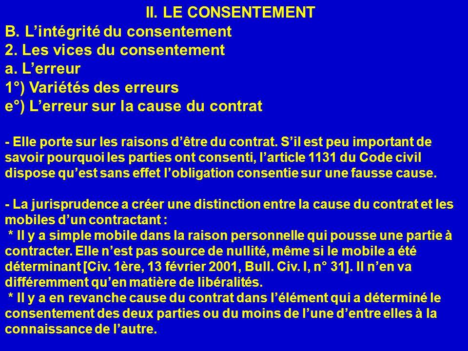 II. LE CONSENTEMENT B. Lintégrité du consentement 2. Les vices du consentement a. Lerreur 1°) Variétés des erreurs e°) Lerreur sur la cause du contrat