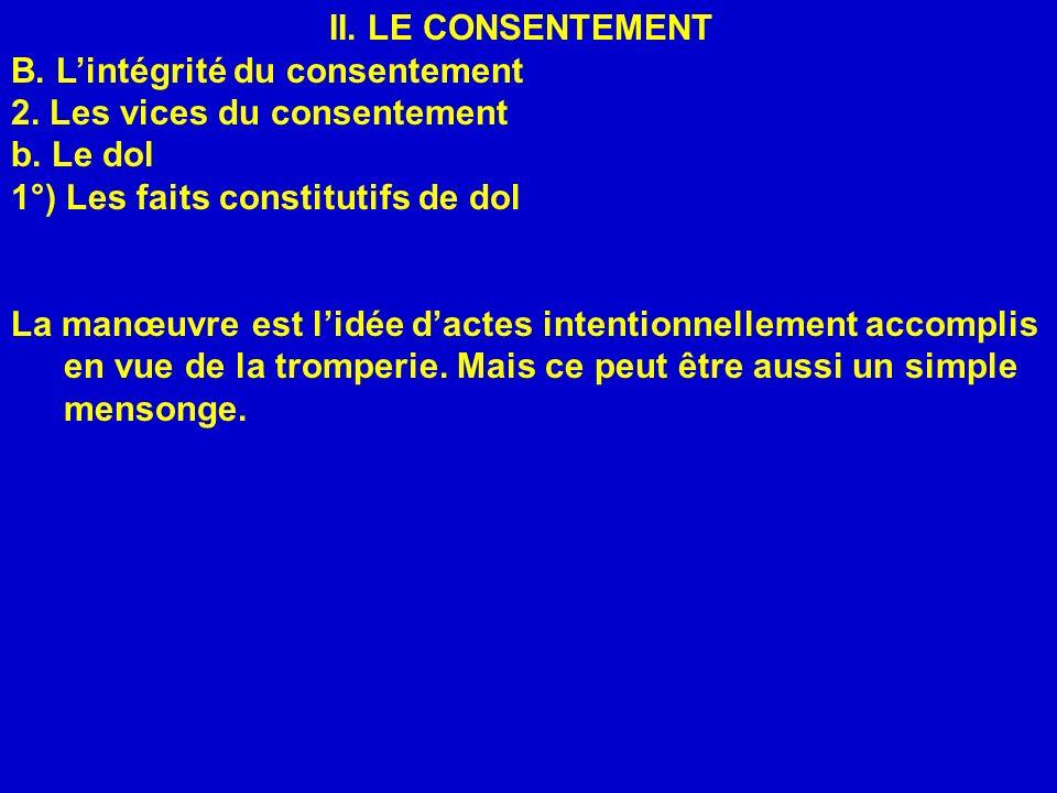 II. LE CONSENTEMENT B. Lintégrité du consentement 2. Les vices du consentement b. Le dol 1°) Les faits constitutifs de dol La manœuvre est lidée dacte