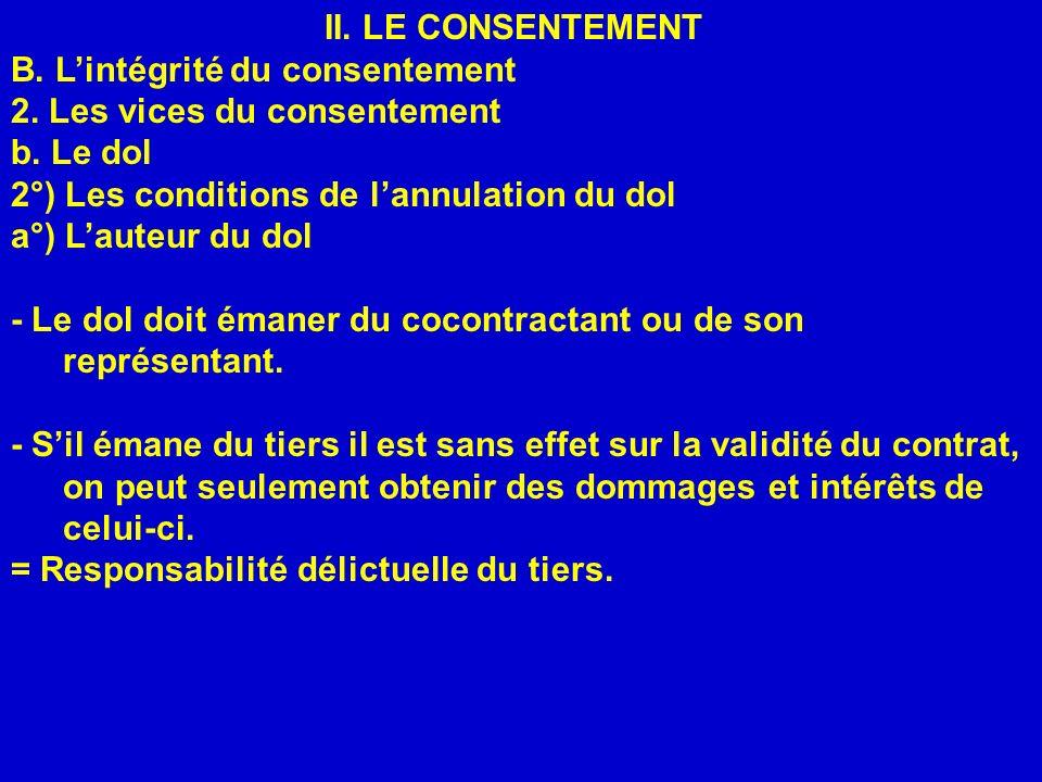 II. LE CONSENTEMENT B. Lintégrité du consentement 2. Les vices du consentement b. Le dol 2°) Les conditions de lannulation du dol a°) Lauteur du dol -