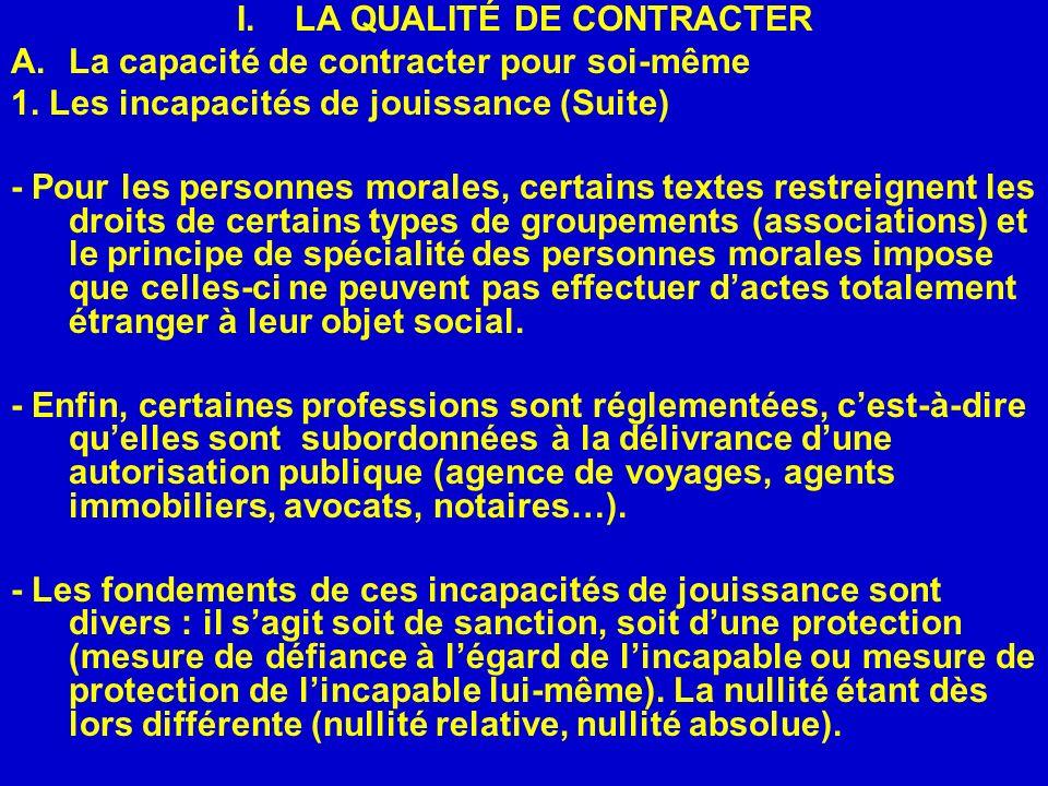 I.LA QUALITÉ DE CONTRACTER A.La capacité de contracter pour soi-même 1. Les incapacités de jouissance (Suite) - Pour les personnes morales, certains t