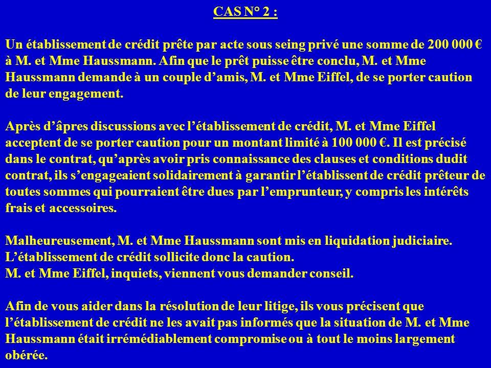 CAS N° 2 : Un établissement de crédit prête par acte sous seing privé une somme de 200 000 à M. et Mme Haussmann. Afin que le prêt puisse être conclu,