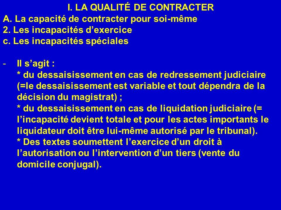 I.LA QUALITÉ DE CONTRACTER A. La capacité de contracter pour soi-même 2.
