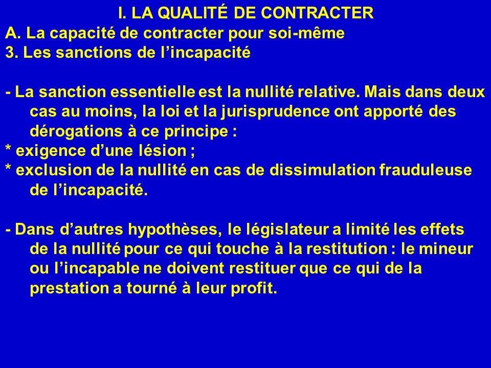 I.LA QUALITÉ DE CONTRACTER A. La capacité de contracter pour soi-même 3.