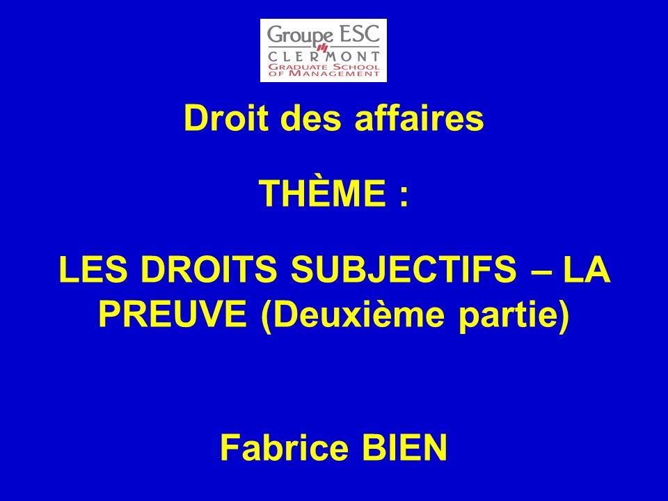 PLAN III.LOBJET DES DROITS SUBJECTIFS A. Les choses 1.