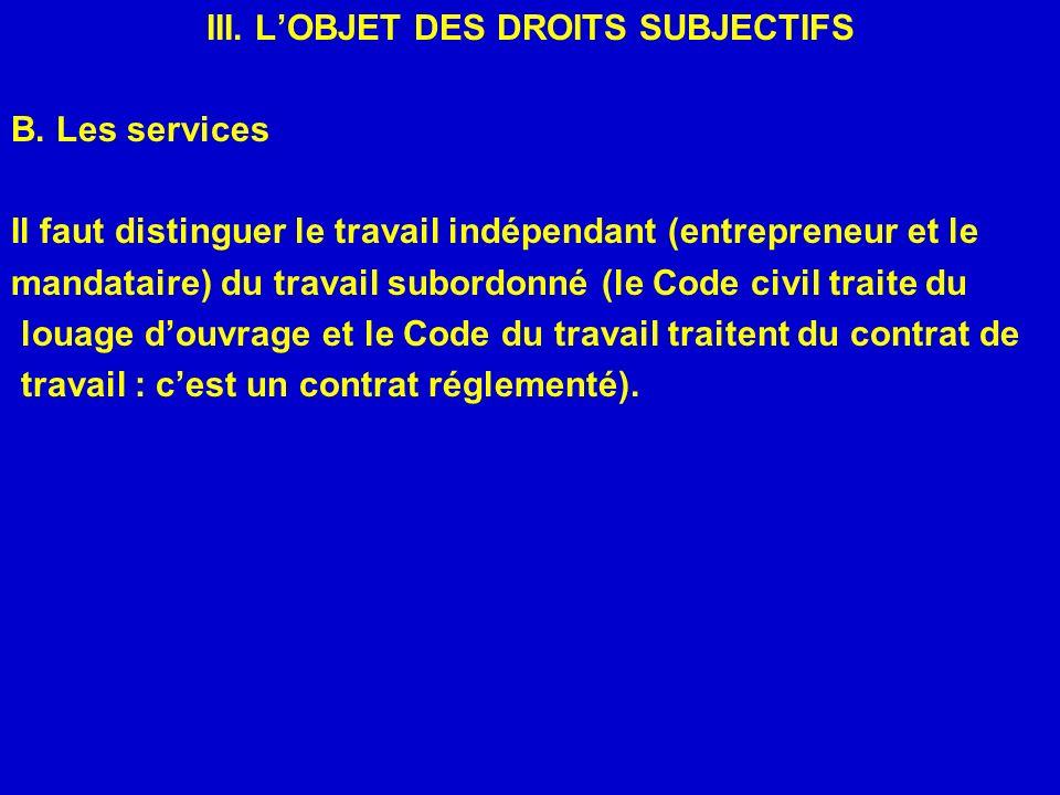 III. LOBJET DES DROITS SUBJECTIFS B. Les services Il faut distinguer le travail indépendant (entrepreneur et le mandataire) du travail subordonné (le