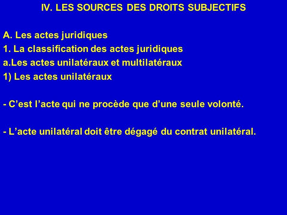 IV. LES SOURCES DES DROITS SUBJECTIFS A. Les actes juridiques 1. La classification des actes juridiques a.Les actes unilatéraux et multilatéraux 1) Le