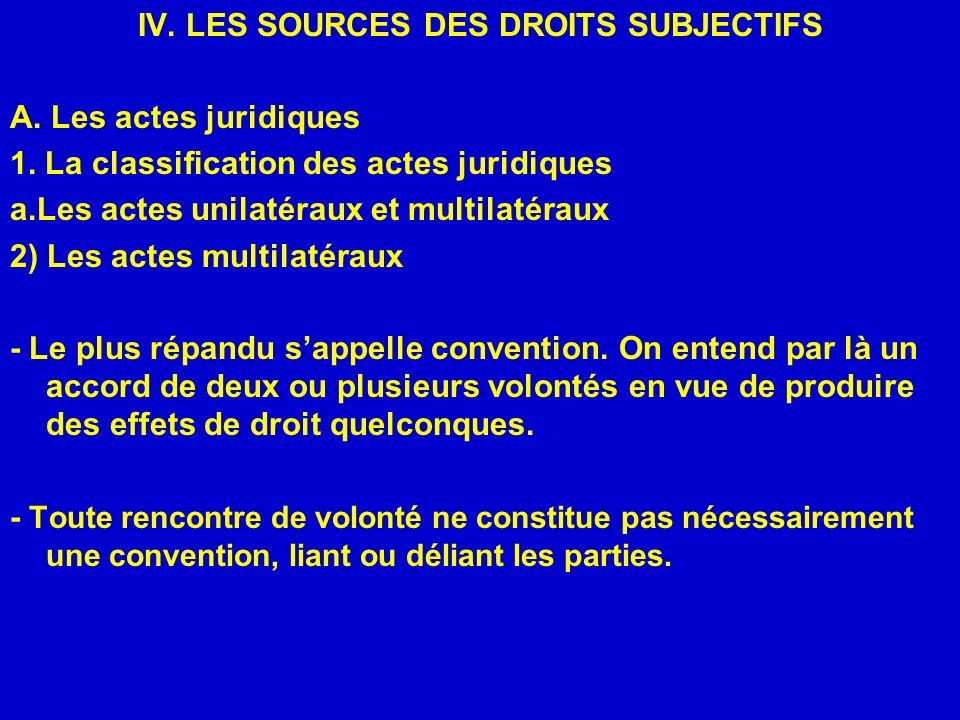 IV. LES SOURCES DES DROITS SUBJECTIFS A. Les actes juridiques 1. La classification des actes juridiques a.Les actes unilatéraux et multilatéraux 2) Le