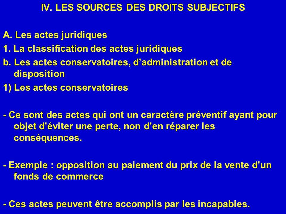 IV. LES SOURCES DES DROITS SUBJECTIFS A. Les actes juridiques 1. La classification des actes juridiques b. Les actes conservatoires, dadministration e