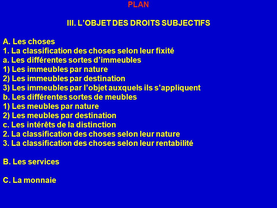 PLAN III. LOBJET DES DROITS SUBJECTIFS A. Les choses 1. La classification des choses selon leur fixité a. Les différentes sortes dimmeubles 1) Les imm