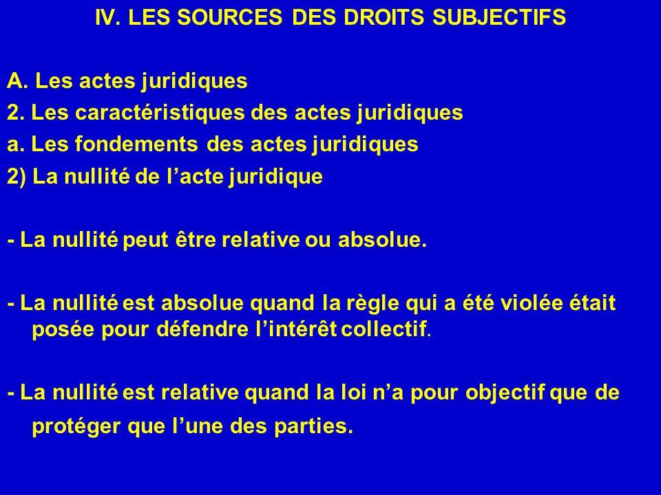 IV. LES SOURCES DES DROITS SUBJECTIFS A. Les actes juridiques 2. Les caractéristiques des actes juridiques a. Les fondements des actes juridiques 2) L