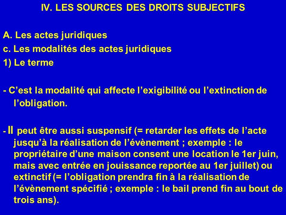 IV. LES SOURCES DES DROITS SUBJECTIFS A. Les actes juridiques c. Les modalités des actes juridiques 1) Le terme - Cest la modalité qui affecte lexigib