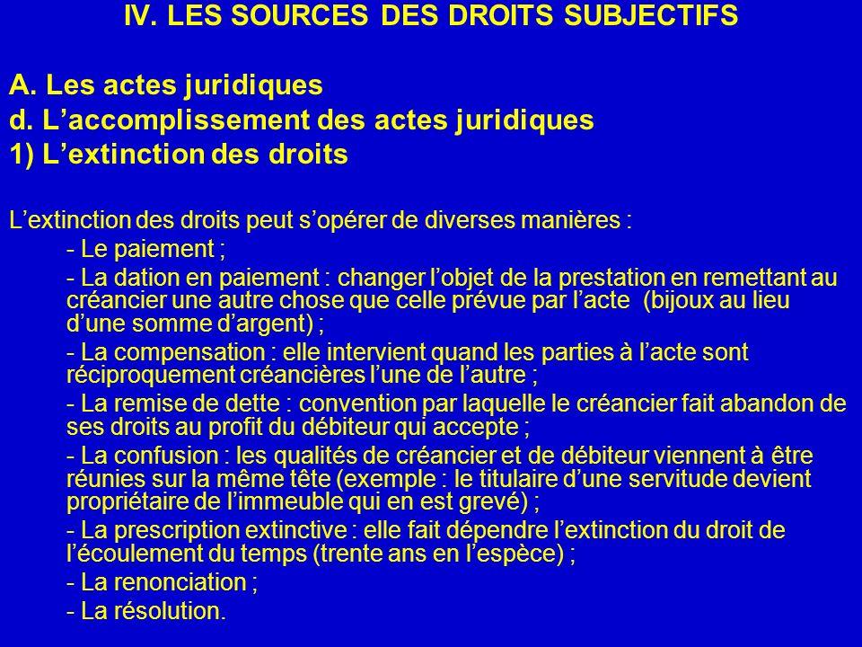 IV. LES SOURCES DES DROITS SUBJECTIFS A. Les actes juridiques d. Laccomplissement des actes juridiques 1) Lextinction des droits Lextinction des droit