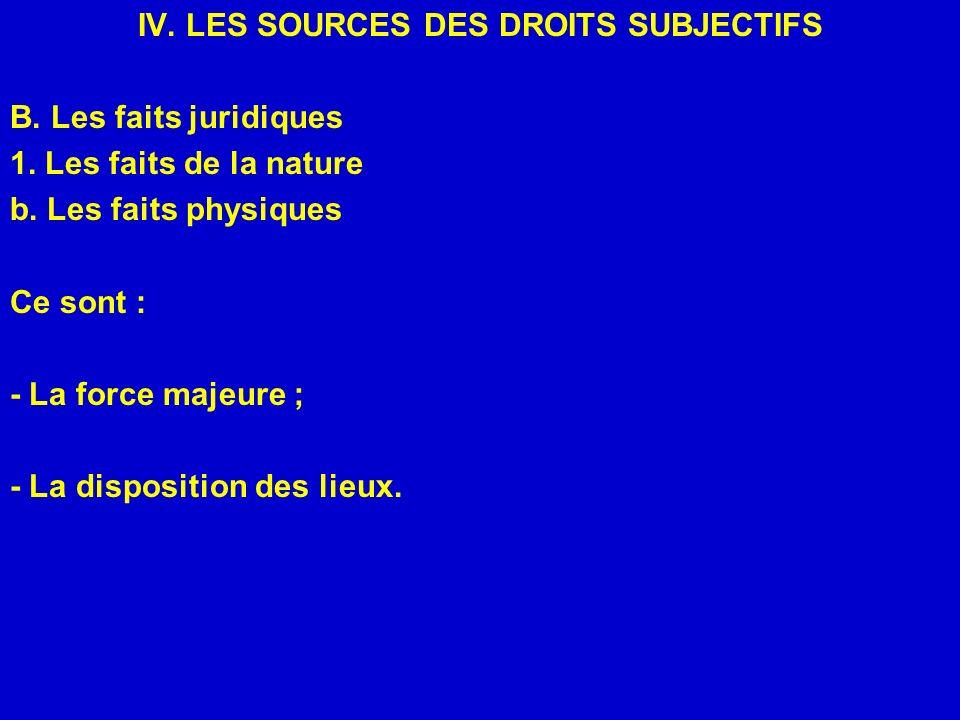 IV. LES SOURCES DES DROITS SUBJECTIFS B. Les faits juridiques 1. Les faits de la nature b. Les faits physiques Ce sont : - La force majeure ; - La dis