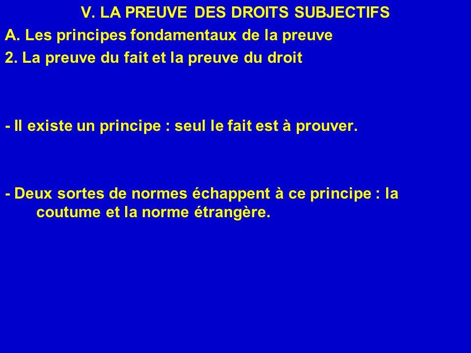 V. LA PREUVE DES DROITS SUBJECTIFS A. Les principes fondamentaux de la preuve 2. La preuve du fait et la preuve du droit - Il existe un principe : seu