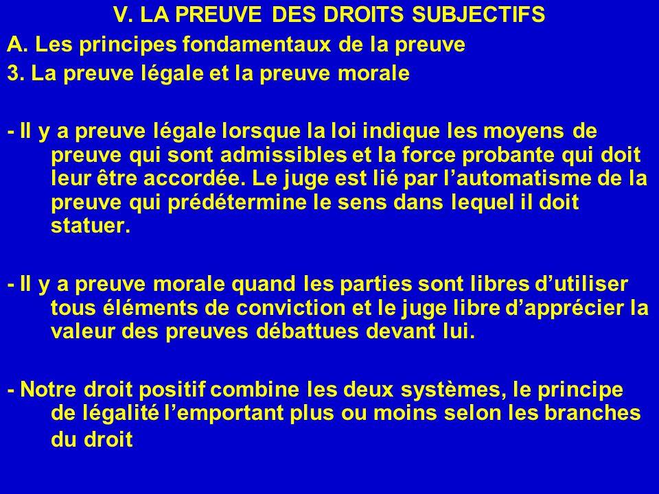 V. LA PREUVE DES DROITS SUBJECTIFS A. Les principes fondamentaux de la preuve 3. La preuve légale et la preuve morale - Il y a preuve légale lorsque l