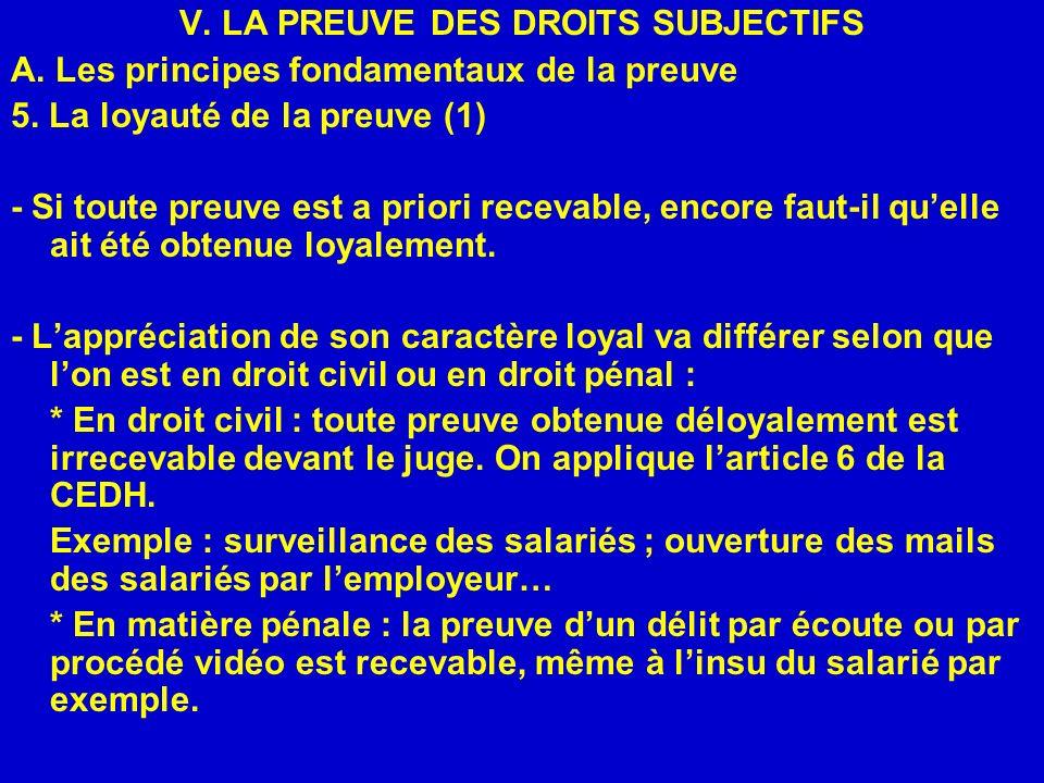V. LA PREUVE DES DROITS SUBJECTIFS A. Les principes fondamentaux de la preuve 5. La loyauté de la preuve (1) - Si toute preuve est a priori recevable,