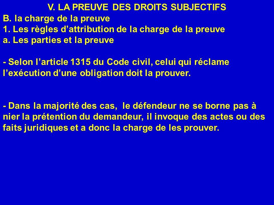 V. LA PREUVE DES DROITS SUBJECTIFS B. la charge de la preuve 1. Les règles dattribution de la charge de la preuve a. Les parties et la preuve - Selon