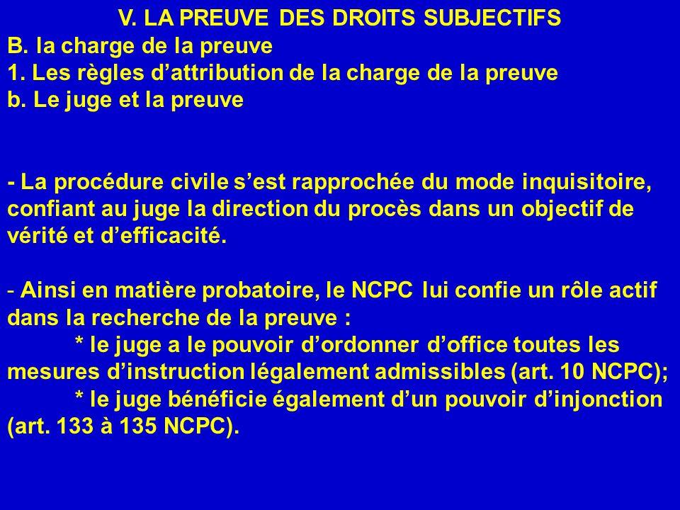 V. LA PREUVE DES DROITS SUBJECTIFS A. Les principes fondamentaux de la preuve 1. Le droit de la preuve et le droit à la preuve V. LA PREUVE DES DROITS