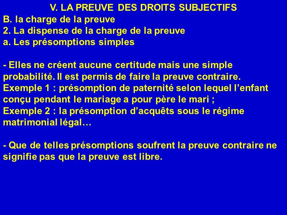 V. LA PREUVE DES DROITS SUBJECTIFS B. la charge de la preuve 2. La dispense de la charge de la preuve a. Les présomptions simples - Elles ne créent au