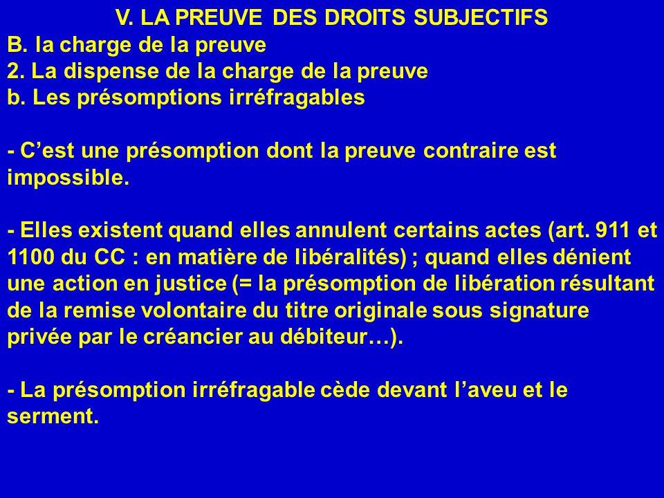 V. LA PREUVE DES DROITS SUBJECTIFS B. la charge de la preuve 2. La dispense de la charge de la preuve b. Les présomptions irréfragables - Cest une pré