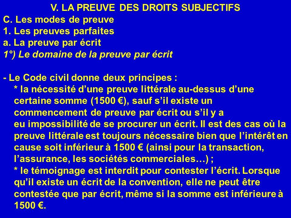 V. LA PREUVE DES DROITS SUBJECTIFS C. Les modes de preuve 1.Les preuves parfaites a. La preuve par écrit 1°) Le domaine de la preuve par écrit - Le Co