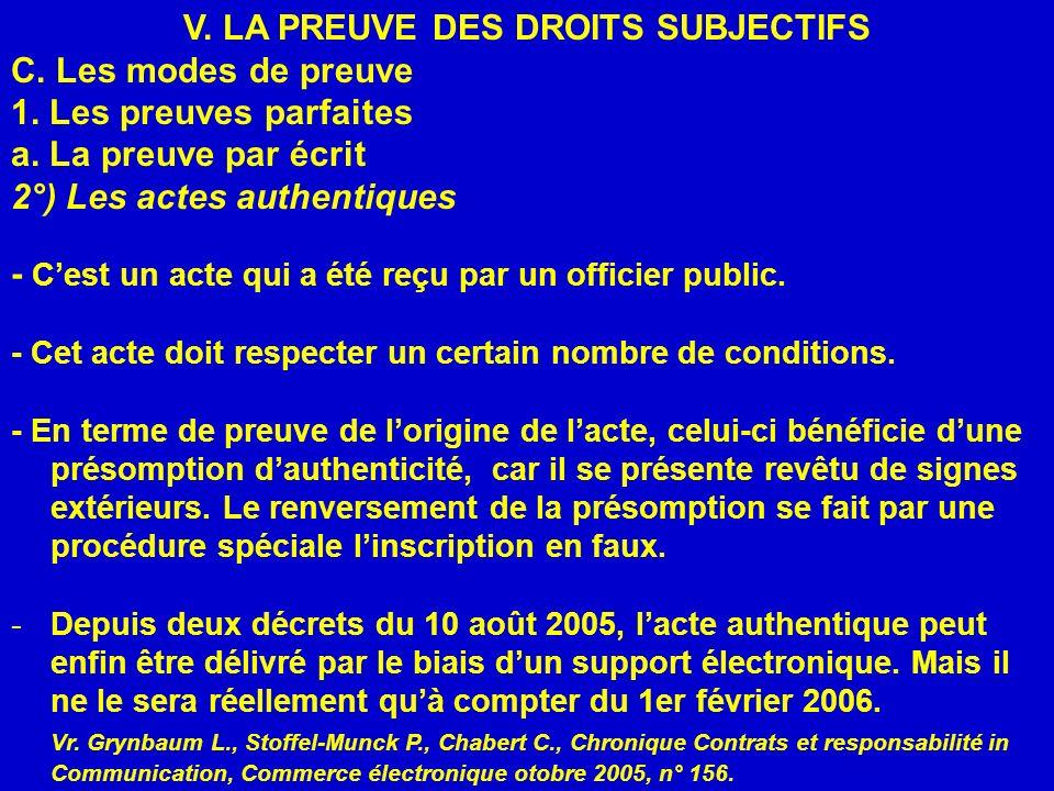 V. LA PREUVE DES DROITS SUBJECTIFS C. Les modes de preuve 1. Les preuves parfaites a. La preuve par écrit 2°) Les actes authentiques - Cest un acte qu
