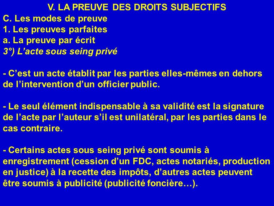 V. LA PREUVE DES DROITS SUBJECTIFS C. Les modes de preuve 1. Les preuves parfaites a. La preuve par écrit 3°) Lacte sous seing privé - Cest un acte ét