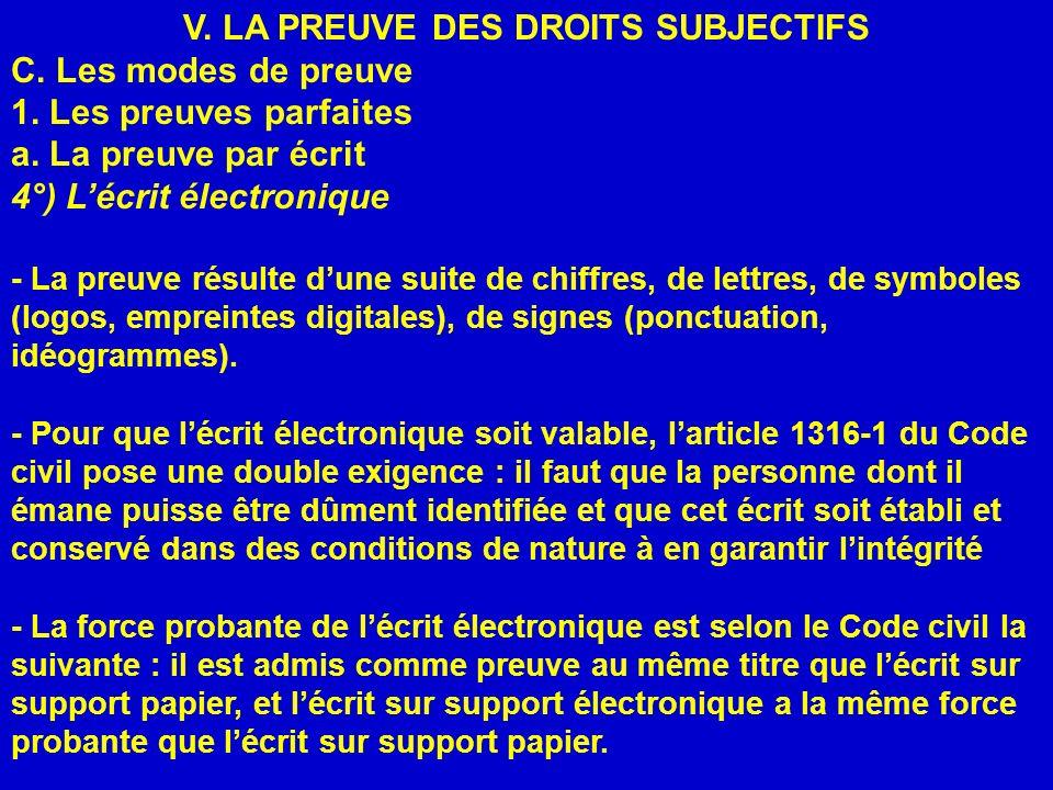 V. LA PREUVE DES DROITS SUBJECTIFS C. Les modes de preuve 1. Les preuves parfaites a. La preuve par écrit 4°) Lécrit électronique - La preuve résulte