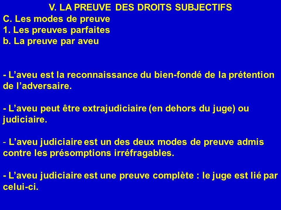 V. LA PREUVE DES DROITS SUBJECTIFS C. Les modes de preuve 1. Les preuves parfaites b. La preuve par aveu - Laveu est la reconnaissance du bien-fondé d