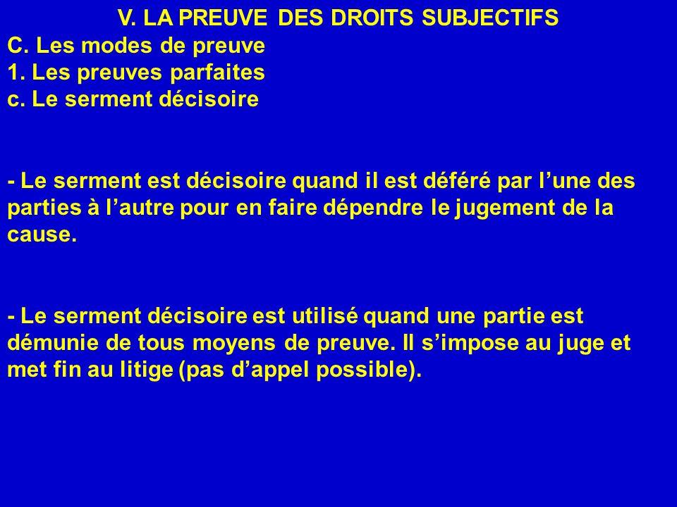 V. LA PREUVE DES DROITS SUBJECTIFS C. Les modes de preuve 1. Les preuves parfaites c. Le serment décisoire - Le serment est décisoire quand il est déf