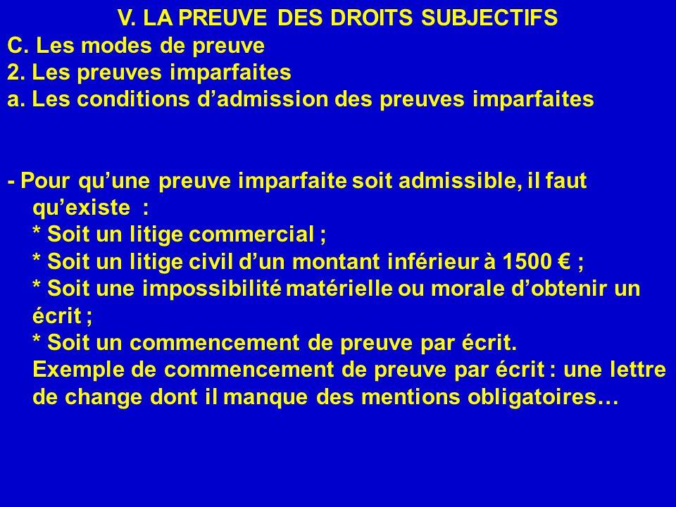 V. LA PREUVE DES DROITS SUBJECTIFS C. Les modes de preuve 2. Les preuves imparfaites a. Les conditions dadmission des preuves imparfaites - Pour quune