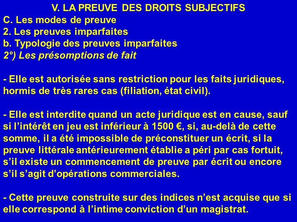 V. LA PREUVE DES DROITS SUBJECTIFS C. Les modes de preuve 2. Les preuves imparfaites b. Typologie des preuves imparfaites 2°) Les présomptions de fait