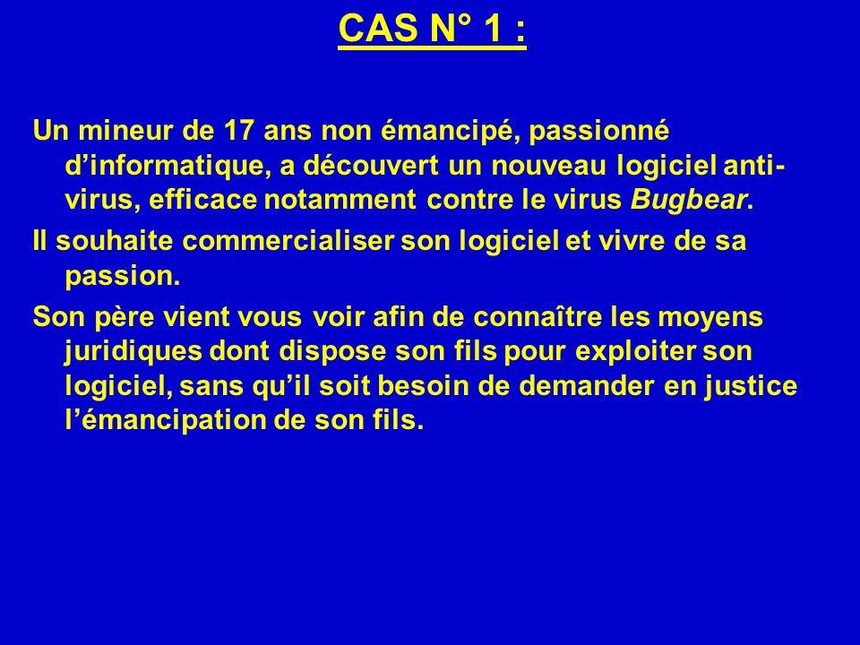 CAS N° 1 : Un mineur de 17 ans non émancipé, passionné dinformatique, a découvert un nouveau logiciel anti- virus, efficace notamment contre le virus