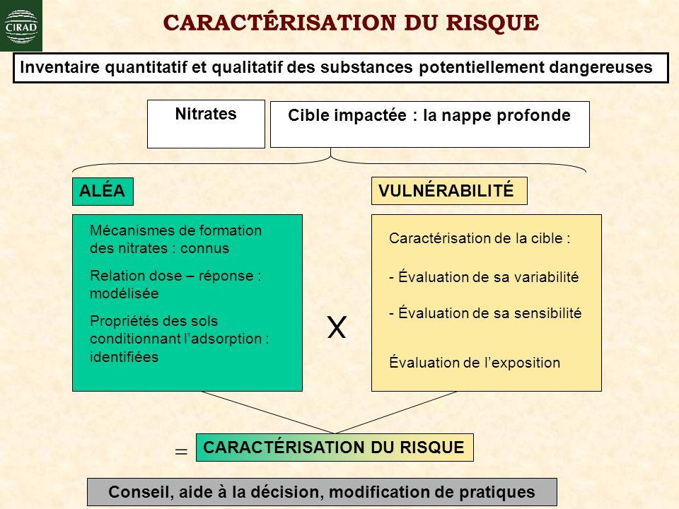 VULNÉRABILITÉ Évaluation de lexposition - Évaluation de sa variabilité - Évaluation de sa sensibilité Caractérisation de la cible : X CARACTÉRISATION