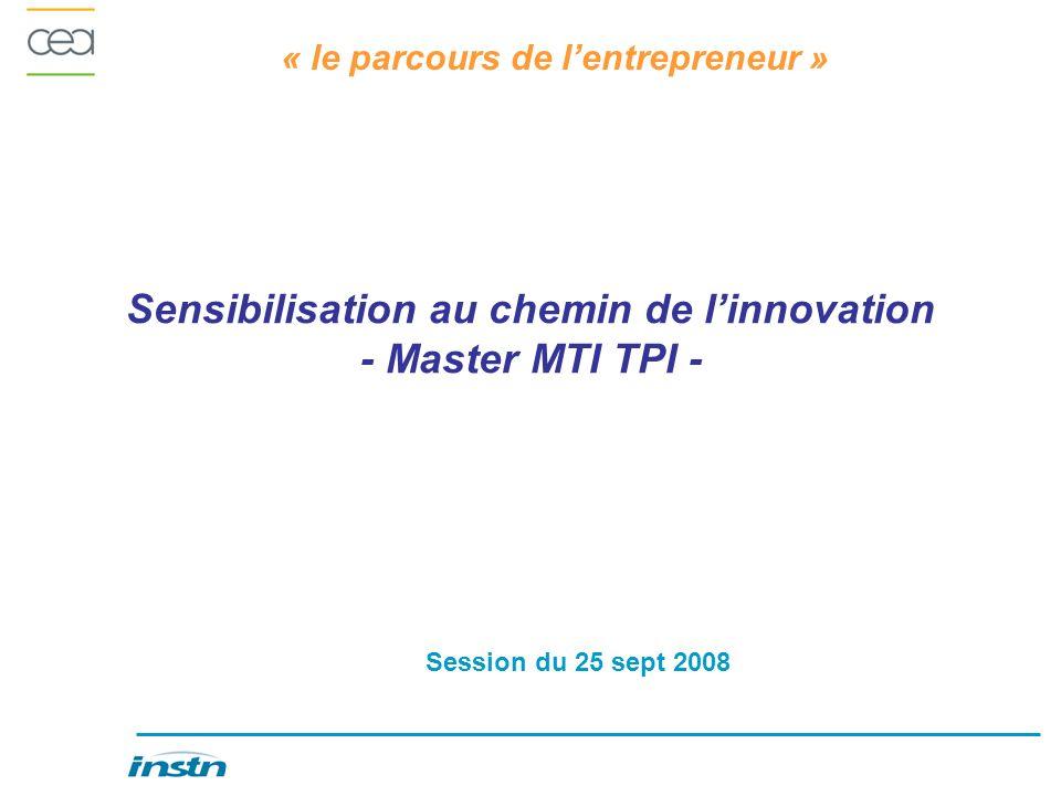 « le parcours de lentrepreneur » Sensibilisation au chemin de linnovation - Master MTI TPI - Session du 25 sept 2008