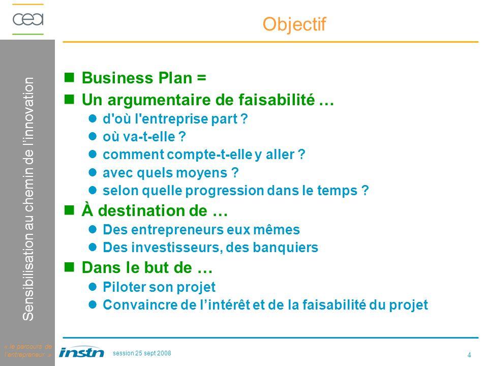 4 Logique dinnovation Sensibilisation au chemin de linnovation « le parcours de lentrepreneur » session 25 sept 2008 Objectif Business Plan = Un argumentaire de faisabilité … d où l entreprise part .