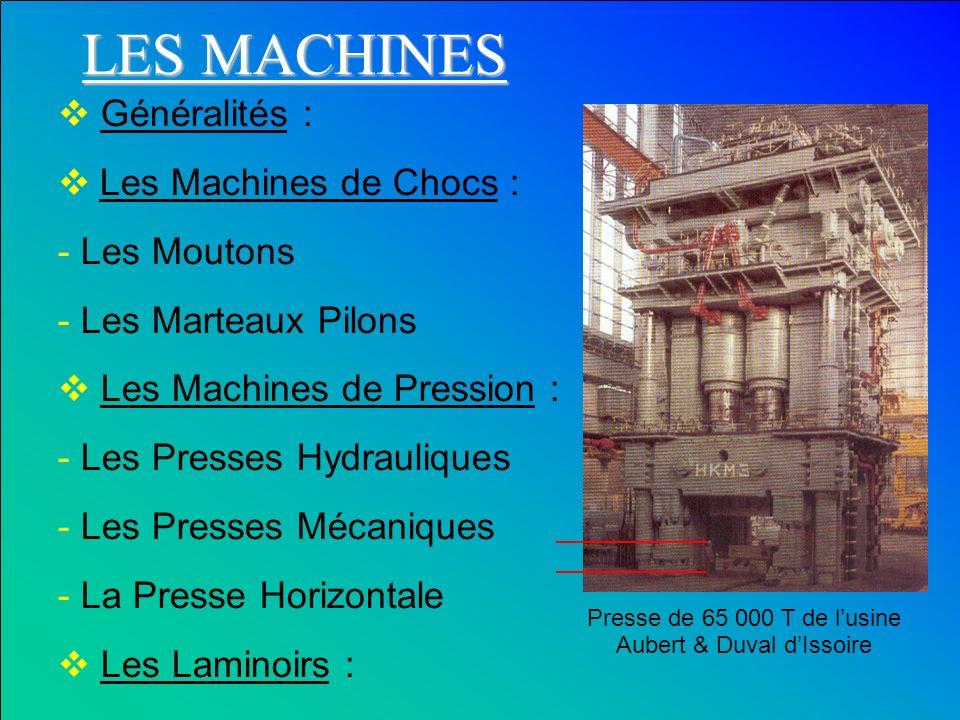 Généralités : Les Machines de Chocs : - Les Moutons - Les Marteaux Pilons Les Machines de Pression : - Les Presses Hydrauliques - Les Presses Mécaniqu