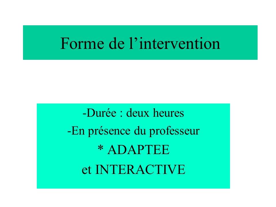 Forme de lintervention -Durée : deux heures -En présence du professeur * ADAPTEE et INTERACTIVE
