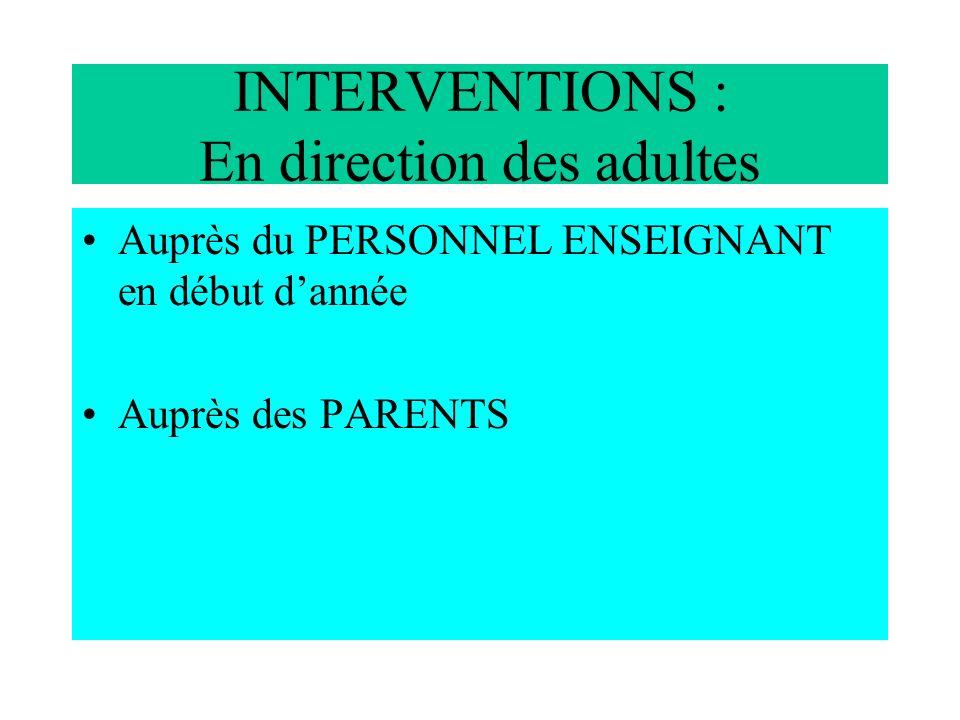 INTERVENTIONS : En direction des adultes Auprès du PERSONNEL ENSEIGNANT en début dannée Auprès des PARENTS