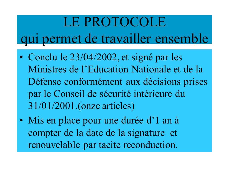 LE PROTOCOLE qui permet de travailler ensemble Conclu le 23/04/2002, et signé par les Ministres de lEducation Nationale et de la Défense conformément aux décisions prises par le Conseil de sécurité intérieure du 31/01/2001.(onze articles) Mis en place pour une durée d1 an à compter de la date de la signature et renouvelable par tacite reconduction.