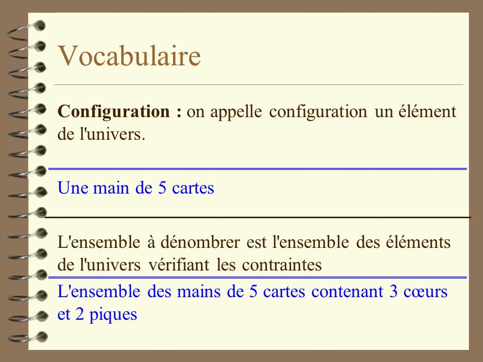 Vocabulaire Configuration : on appelle configuration un élément de l univers.
