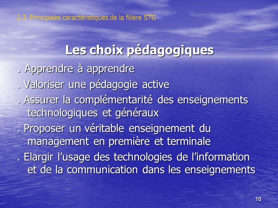 10 2.3. Principales caractéristiques de la filière STG Les choix pédagogiques. Apprendre à apprendre. Valoriser une pédagogie active. Assurer la compl