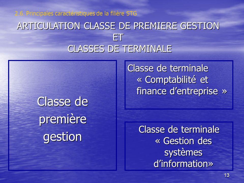 13 2.6. Principales caractéristiques de la filière STG Classe de premièregestion Classe de terminale « Comptabilité et finance dentreprise » Classe de