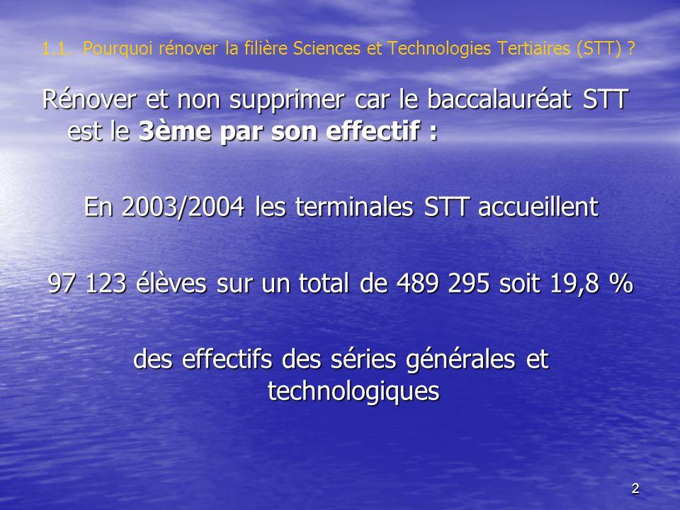 2 1.1. Pourquoi rénover la filière Sciences et Technologies Tertiaires (STT) .