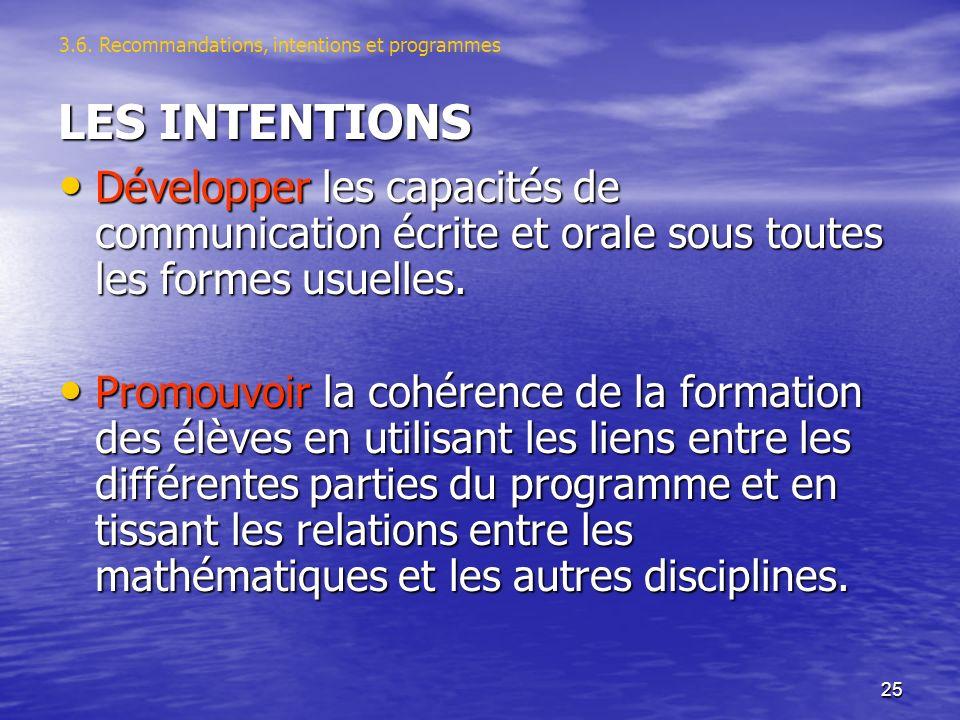 25 LES INTENTIONS Développer les capacités de communication écrite et orale sous toutes les formes usuelles.